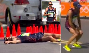 Medal for determination! Brave French athlete suffers a VERY embarrassing stomach problem and collapses in 50km race...but still gets up and tries to finish