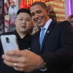 Barack Obama and Kim Jong-Un look-alikes pose for photos