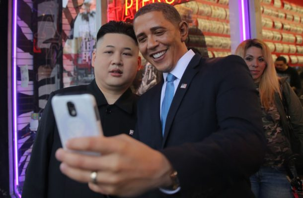 Barack Obama and Kim Jong-Un look-alikes pose for photos