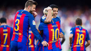 barca players celebrating