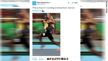 Usain Bolt and Ellen DeGeneres