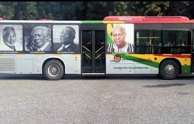 The old buses have images of past and present Ghanaian leaders