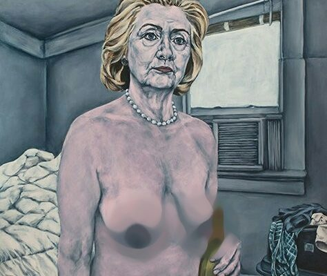 Trump supporters retaliate with naked statues of Hilary Clinton (photos)