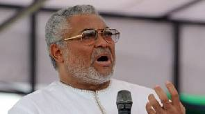 Rawlings arrives for NDC campaign launch