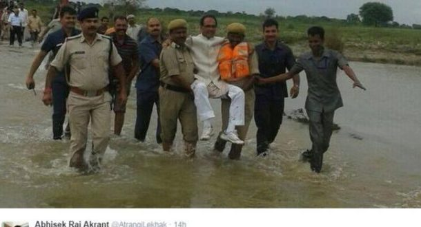 India minister Shivraj Singh Chauhan ridiculed for flood