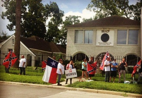 Tensions on the rise in Houston's Third Ward as 'White Lives Matter' protesters set up in front of Houston's NAACP headquarters