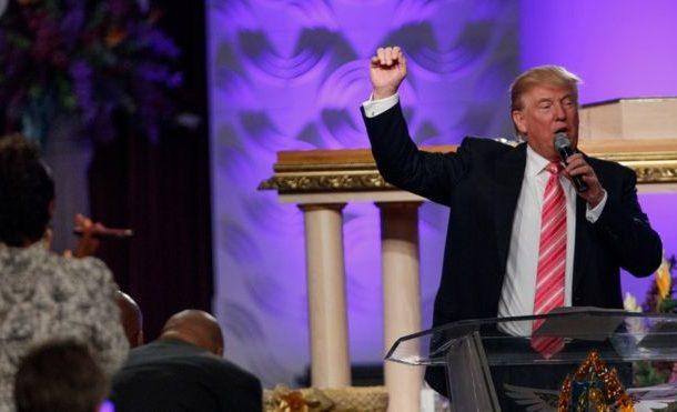US election: Donald Trump woos black vote at Detroit church