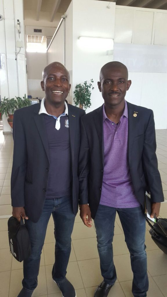 Referee Joseph lamptey and Assistant Dvaid Laryea ta the kotoko internayional airport