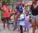 Family in Volta Region brush teeth with Kalyppo due to lack of water