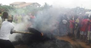 Angry Krobonso residents burn suspected armed robbers alive