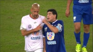 Video: Maradona and Veron scuffle during charity match as Pope watches on