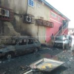 PHOTOS: Rubbish fire guts storey building in Accra, destroys cars