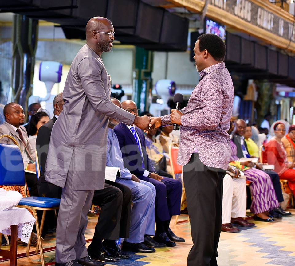 George Weah visited TB Joshua at his church