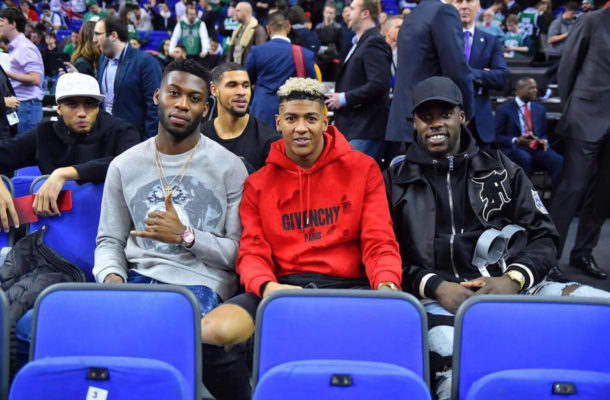 Jeffrey Schlupp, Kevin De Bruyne, Hazard in attendance at O2 Arena for NBA London