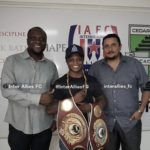 Boxer Isaac Dogboe pays courtesy call on Inter Allies with bantamweight title