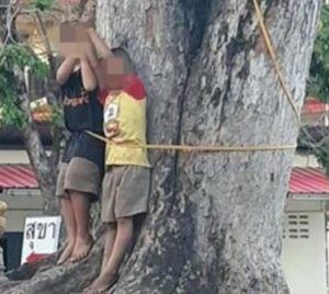 PHOTOS: Couple beat,tie their two kids to a tree for stealing