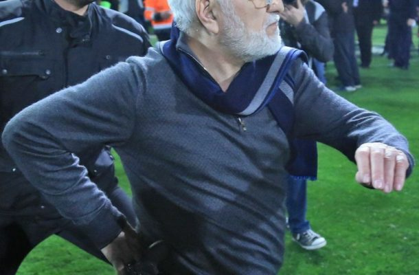 Angry PAOK owner storms pitch with gun over disallowed goal