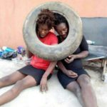 PHOTOS: Two suspected female thieves apprehended, beaten to pulp and almost set ablaze