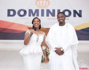 PHOTOS: John Dumelo and wife, Gifty stun in all white ensemble for thanksgiving service
