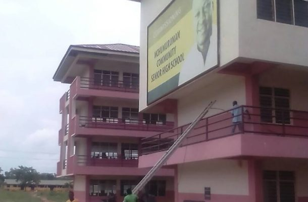 Krachi: Tension as DCE orders removal of Mahama's image from 'E' Block