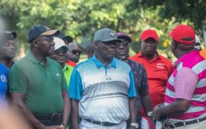 PHOTOS: Okyehene joins Otumfuo to play golf during historic visit to Manhyia