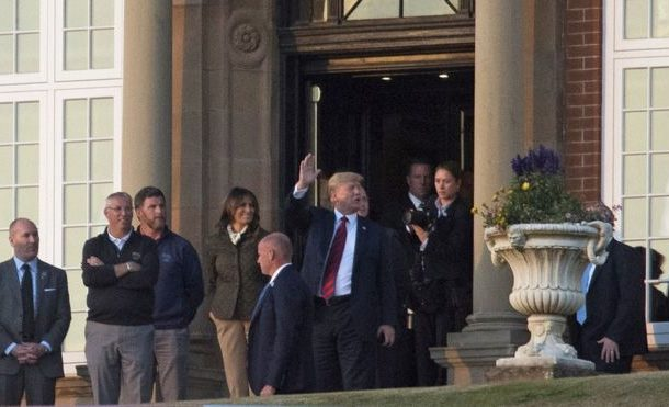 Trump to play golf at Turnberry as protests continue