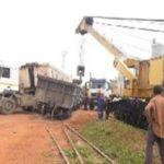 Haulage train crashes into tipper truck at Takoradi Port