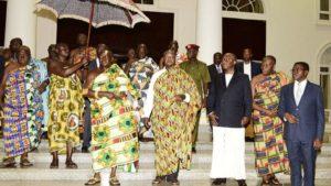 PHOTOS: Uganda's Museveni goes traditional as he hosts Ghana's Asantehene