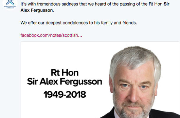 Breaking News: Sir Alex Fergusson dead at 69