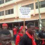 Kumasi – Fresh graduates of colleges of education protest teacher licensing exams.