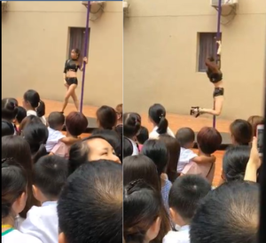 VIDEO: Kindergarten school hires sexy pole-dancers to welcome children back to school