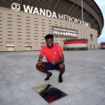 Thomas Partey poses with his plaque on Atletico Madrid's Walk of Legends