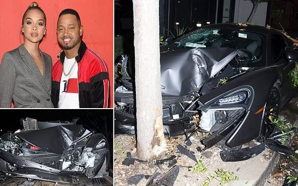 PHOTOS: Actor Terrence J and his model girlfriend smash $200k McLaren sports car into a tree