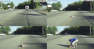 Video: A must watch, 4-year old girl saved by grace after falling-off a bus