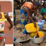 Bizarre: Ghana's Heptathlete heroine Margaret Simpson now sells cooking oil for a living
