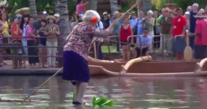 Video: Funny!!, Granny specialized in circus, thrills audience as she gets her hat back from a river.