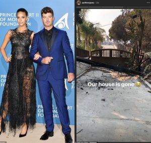 PHOTOS: Robin Thicke and April Love Geary's $2.4m Malibu mansion is destroyed in California fires