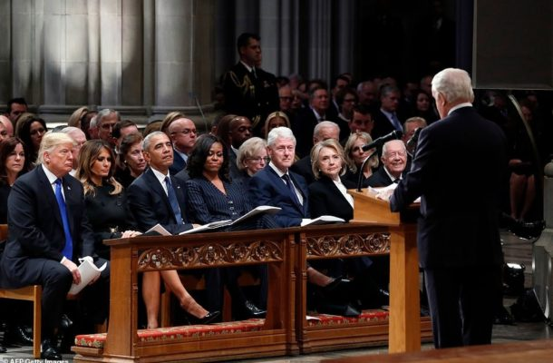 PHOTOS: Trump, Obama, Clinton and their wives attend the memorial service of George H.W. Bush to pay their respect