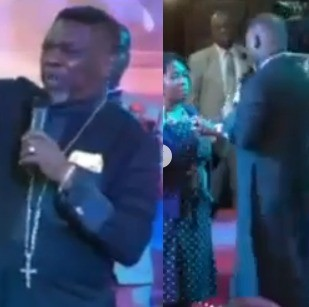 VIDEO: Nigerian Pastor asks his members to pay £700 so he can spray them a perfume that will cancel spiritual odour