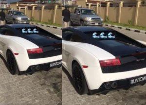 VIDEO: Singer Runtown's Lamborghini destroyed at Burna Boy's concert in Lagos