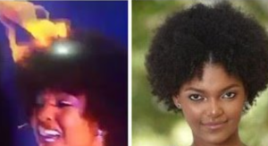 VIDEO: Shocking moment Miss Congo's wig caught fire after being crowned Miss Africa 2018 in Nigeria