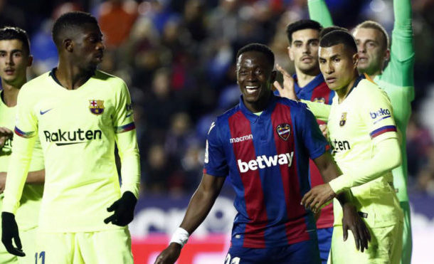 Emmanuel Boateng grabs assist in Levante's victory over Barcelona in Spanish Cup