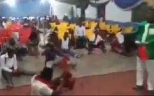VIDEO: Church members fight all their 2019 spiritual battles with cutlass their pastor asked them to bring