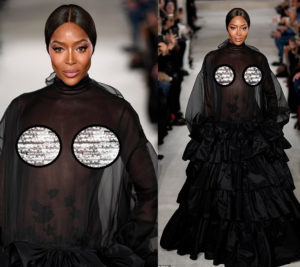PHOTOS: Supermodel Naomi Campbell goes braless; flashes her nipples in a sheer dress on runway