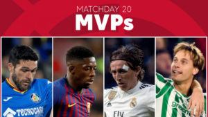 Who was the MVP of Matchday 20 in LaLiga Santander