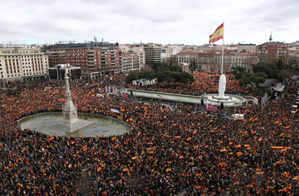 Thousands Protest in Madrid Against Spanish PM's Catalonia Proposal (VIDEO)