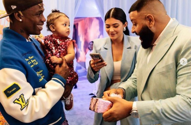 PHOTOS/VIDEO: DJ Khaled gifts Travis Scott and Kylie Jenner's daughter Stormi a Chanel purse at her 1st birthday party