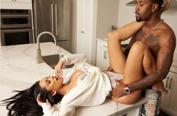 PHOTOS: Erica Mena and Safaree strike suggestive pose in the kitchen as they share engagement photos