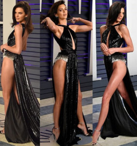 PHOTOS: Kendall Jenner goes underwear-free in risky high-cut dress to Vanity Fair Oscar Party