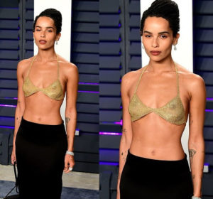PHOTOS: Zoe Kravitz's eye-popping bra to Vanity Fair Oscars was crafted from 18-karat gold for $24,000